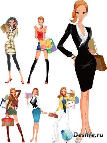 Девушка в различных одеждах: подборка вектора