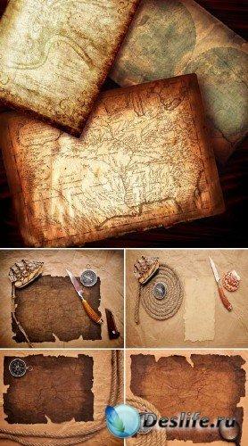 Старая бумага и морские принадлежности