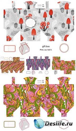 Цветочные фоны заготовки для коробок в векторе