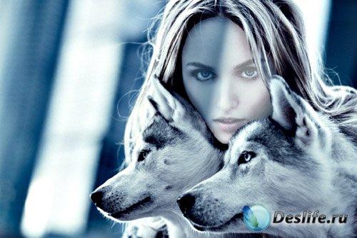 PSD костюм для девушек - Девушка с 2 волками