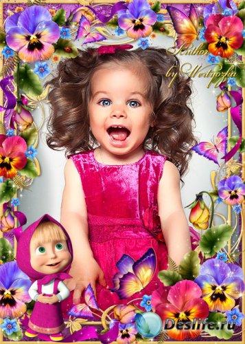 Детская рамка для фотошопа, Маша и Медведь, анютины глазки и бабочки