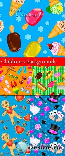 Оригинальные детские  фоны со сладостями
