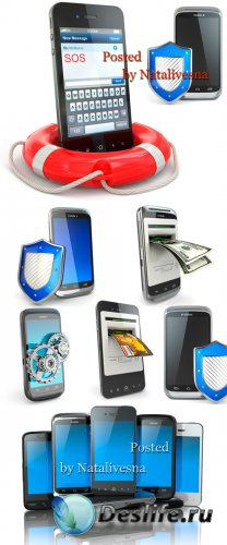 Подборка телефонов на белом фоне