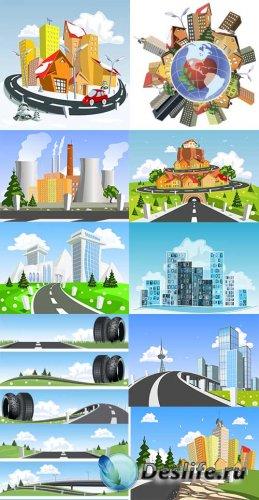 Большие мегаполисы и города в векторе