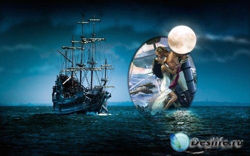 Рамка для фотошопа - Таинственный корабль под луной