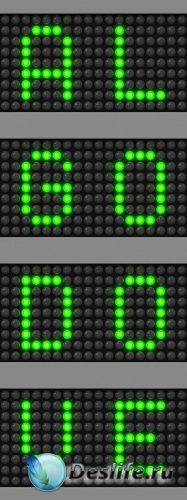 Буквы и числа из зелёных точек в растре + бонус