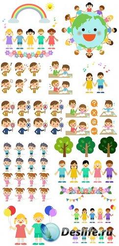 Маленькие дети в векторе, девочки, мальчики