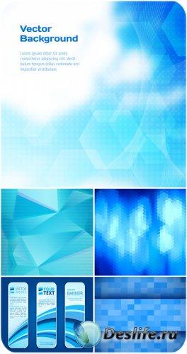 Голубые векторные фоны с абстракцией, баннеры