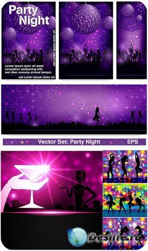 Вечеринки в векторе, танцующие девушки