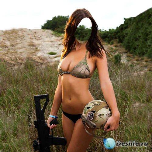 Костюм женский - Боевая девушка с автоматом в руках