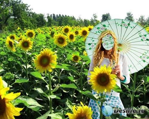 Женский psd костюм - Милашка в поле солнечных подсолнухов