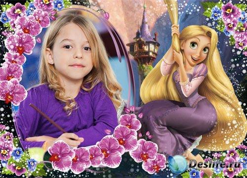 Детская фоторамка - Очаровашка Рапунцель и орхидеи
