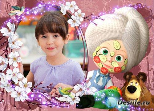 Детская фоторамка - с Машей красавицей и мишкой