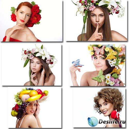 Клипарты для фотошопа - Двенадцать красивых девушек в цветах