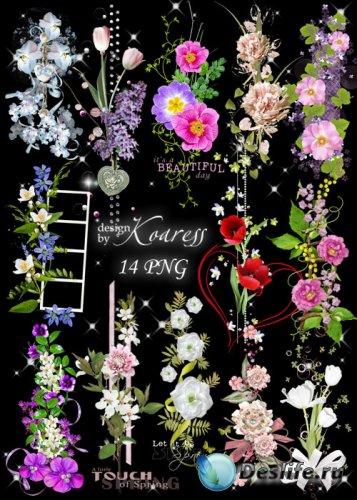 Цветочные png кластеры для фотошопа на прозрачном фоне - Весенняя феерия