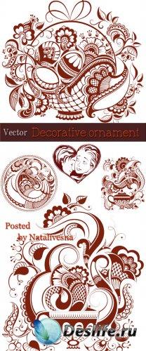 Декоративные  фоны в Векторе с цветами и узорами