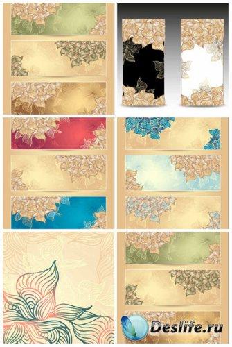Винтажные векторные баннеры с цветами