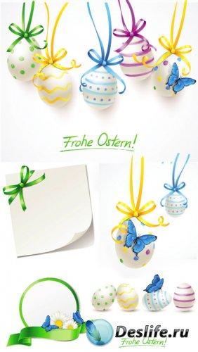Пасхальный вектор, пасхальные яйца с бабочками