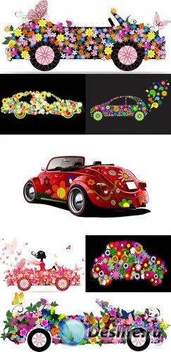 Векторный клипарт - Цветы и машины