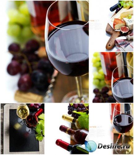 Бокалы с вином, виноград - сток фото