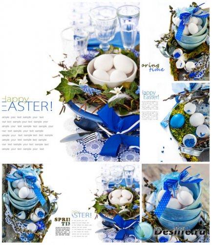 Пасхальные композиции в синих тонах - сток фото