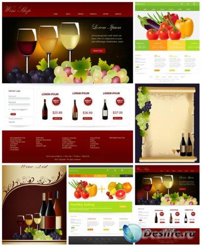 Шаблоны  для сайта, векторные фоны с продуктами