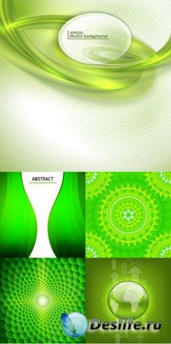 Векторный клипарт - Зелёные фоны