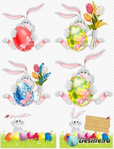 Клипарт - пасхальные кролики с яйцами и цветами на прозрачном фоне