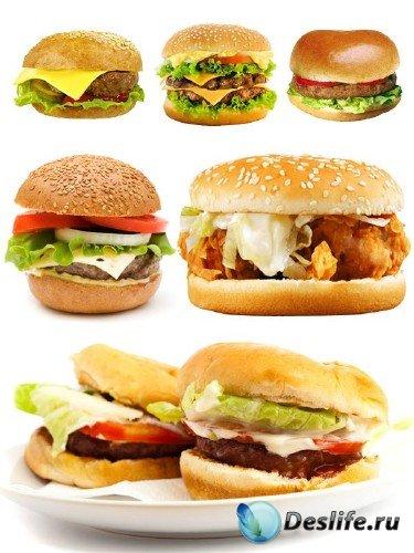 Фаст фуд: Гамбургер и чизбургер (клипарт на белом фоне)