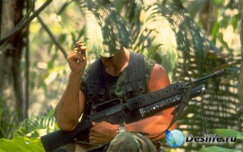 Костюм мужской - Солдат с сигарой и автоматом в лесу