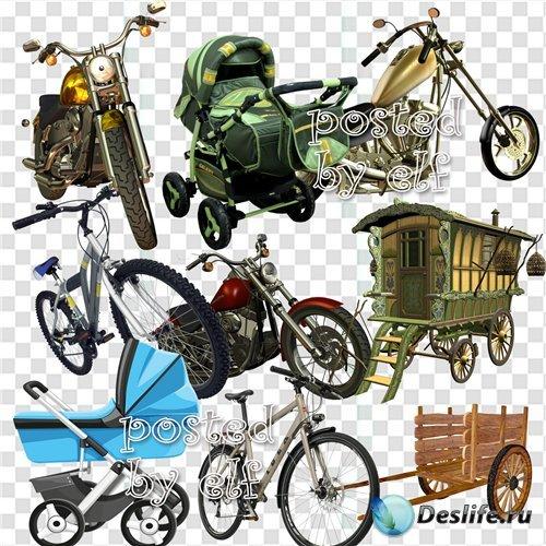 Коляски, фургоны, велосипеды и мотоциклы – клипарт в png