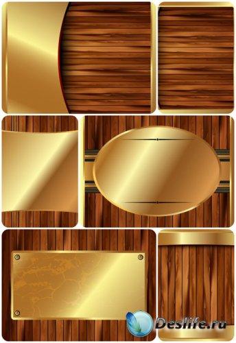 Деревянные векторные фоны с золотыми элементами