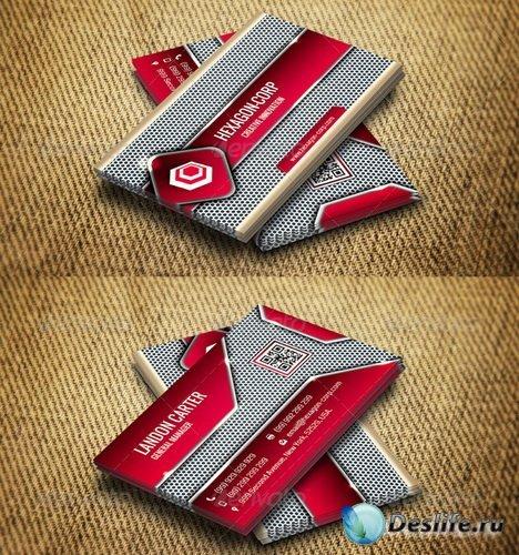 Шаблон Визитки - Hi-tech- Futuristic Corporate Business Card THN011