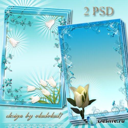 Цветочные рамки для фотошопа - Белые тюльпаны в голубом обрамлении