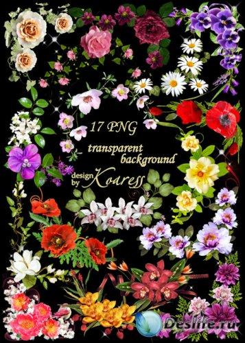 Набор цветочных уголков для дизайна - Весна, цветы