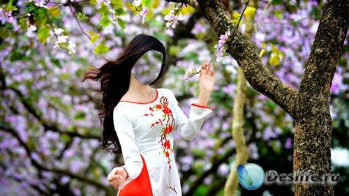 Костюм для Photoshop - Симпатичная девушка возле цветущего дерева
