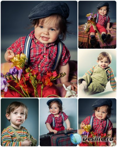 Маленькие дети,мальчик с цветами / Little children, boy with flowers - Stoc ...