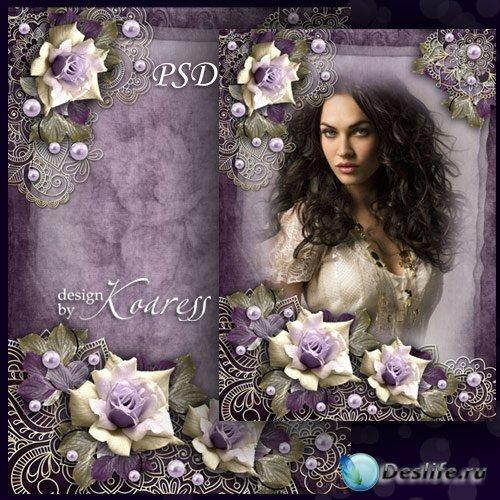 Рамка для фото с цветочным орнаментом и розами - Портрет в винтажном стиле