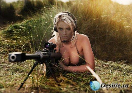 Костюм женский - Белокурая снайпер с винтовкой на задании