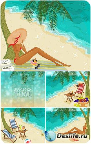 Девушка на берегу моря, морской вектор / Girl on the beach, sea vector