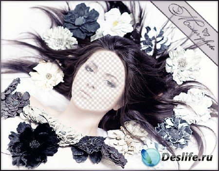 Женский шаблон для фотошопа - в плену цветов