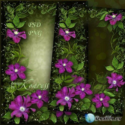 Цветочная рамка для романтических фотошопа - Яркие, чудесные цветы