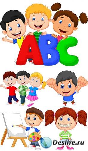 Маленькие дети в векторе, дети с буквами / Little kids vector, kids with le ...
