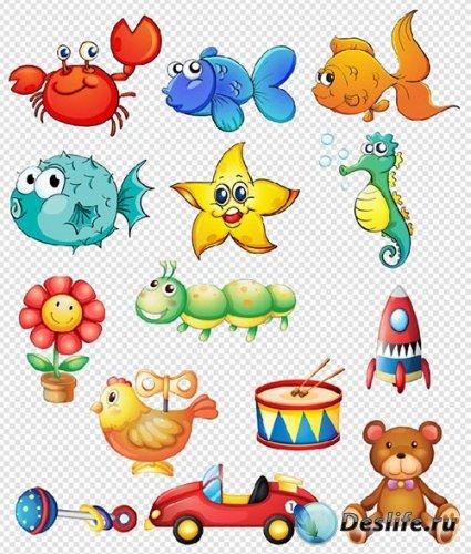 Клипарт - Мультяшные персонажи морские рыбки и детские игрушки на прозрачно ...