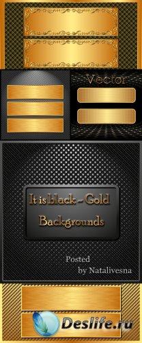 Чёрно – золотые  фоны в Векторе с декоративными элементами