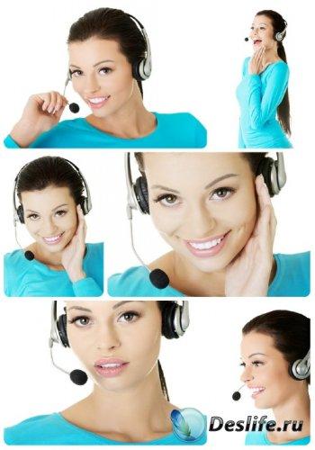 Девушка оператор на белом фоне - сток фото / Girl operator