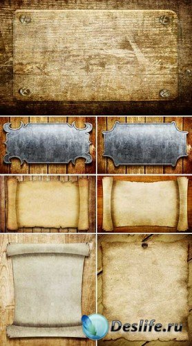 Таблички и свитки на деревянных фонах