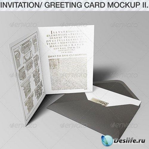 Смарт шаблон открытки - Invitation & Greeting Card Mockup Pack II