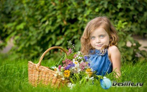 Костюм для фото - Милая малышка  с корзинкой цветов