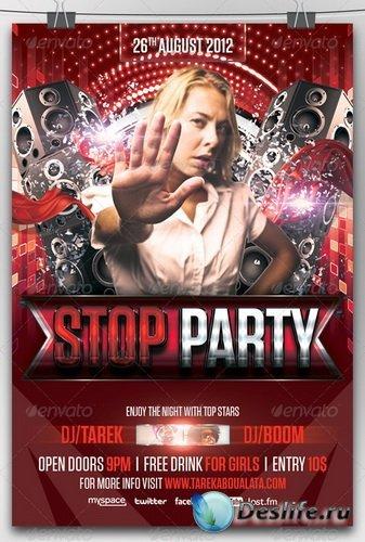 Шаблон пригласительного флаера - Stop Party Flyer